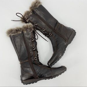 Geox brown leather winter snow boots